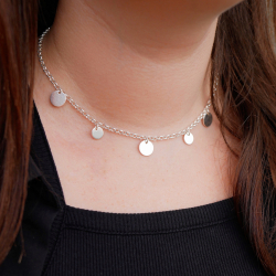 """Necklace """"Sun"""" round pastilles and simple chain"""