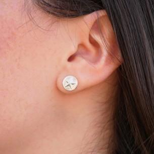 Boucle d'oreille pastille étoile plaqué argent 10 microns / 3 paires
