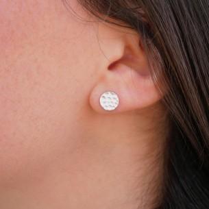 Boucles d'oreilles pastille martelée plaqué argent 10 microns / 3 paires